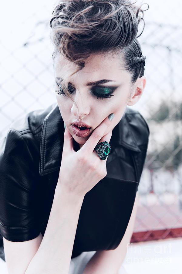 Makeup Photograph - Portrait Of A Beautiful Brunette Girl by Yuliya Yafimik