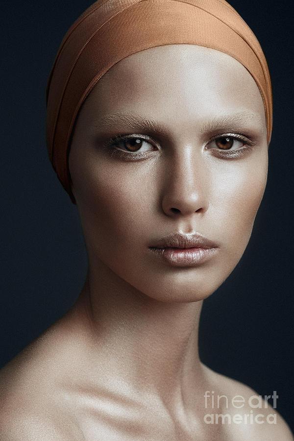 Makeup Photograph - Portrait Of A Beautiful Girl With A by Yuliya Yafimik