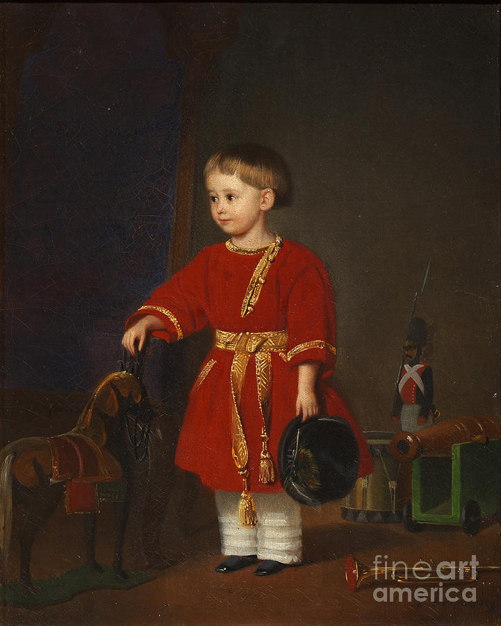 Portrait Of A Boy In A Red Dress Drawing by Heritage Images