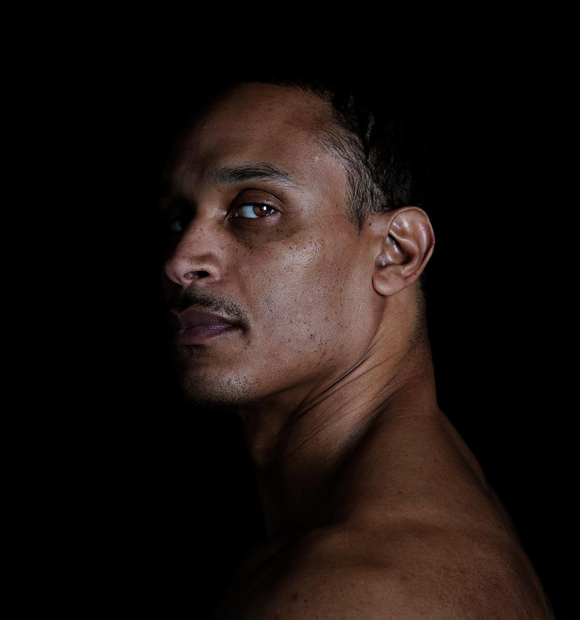 Portrait Of A Man On A Black Background Photograph by Michael Duva