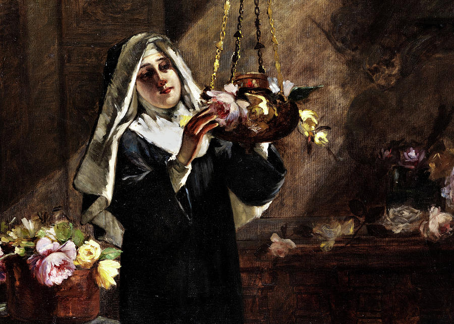 Portrait Painting - Portrait Of A Nun With Flowers by Virgilio Ripari