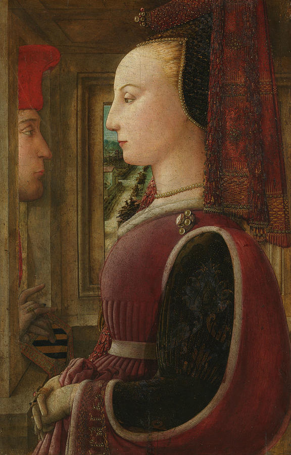 Portrait of a Woman with a Man at a Casement by Filippo Lippi