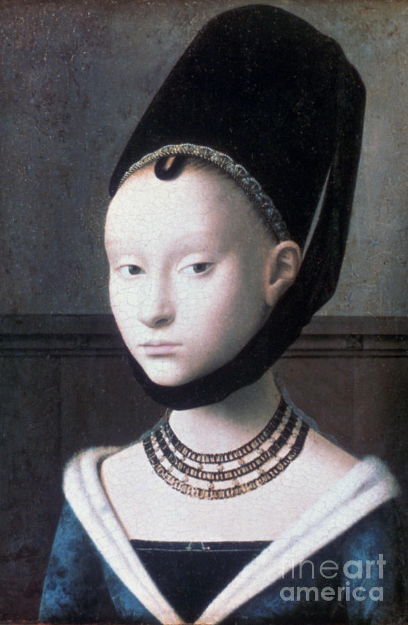 Portrait Of A Young Girl, C1460. Artist Drawing by Print Collector