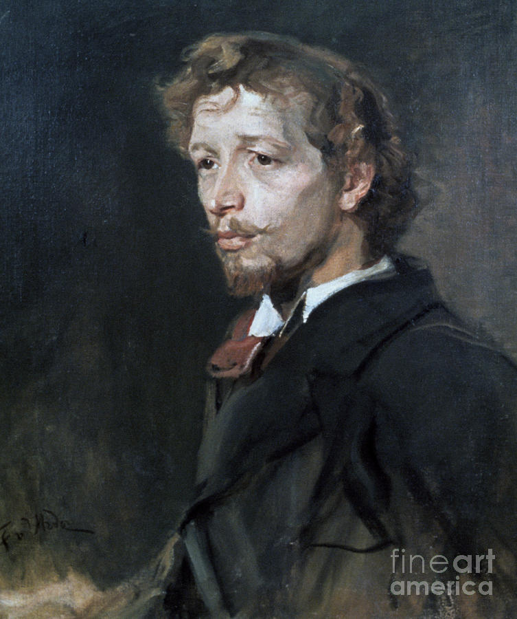 Portrait Of A Young Man, C1880. Artist Drawing by Print Collector