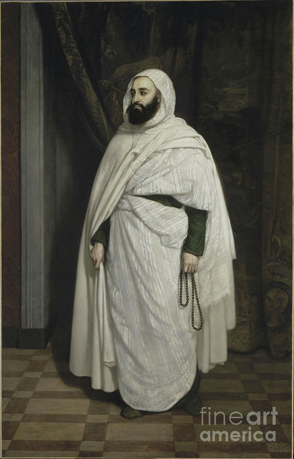 Portrait Of Abdelkader Ibn Muhieddine Drawing by Heritage Images