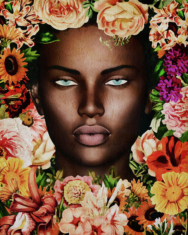 Portrait Of African Woman Surrounded With Flowers by Jan Keteleer