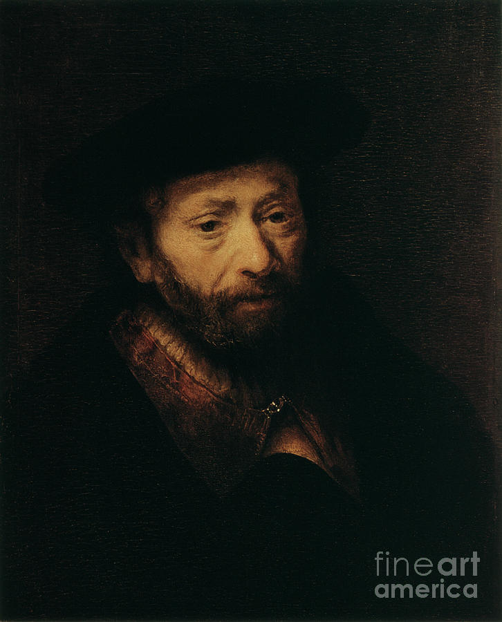 Portrait Of An Old Man, 17th Century Drawing by Print Collector
