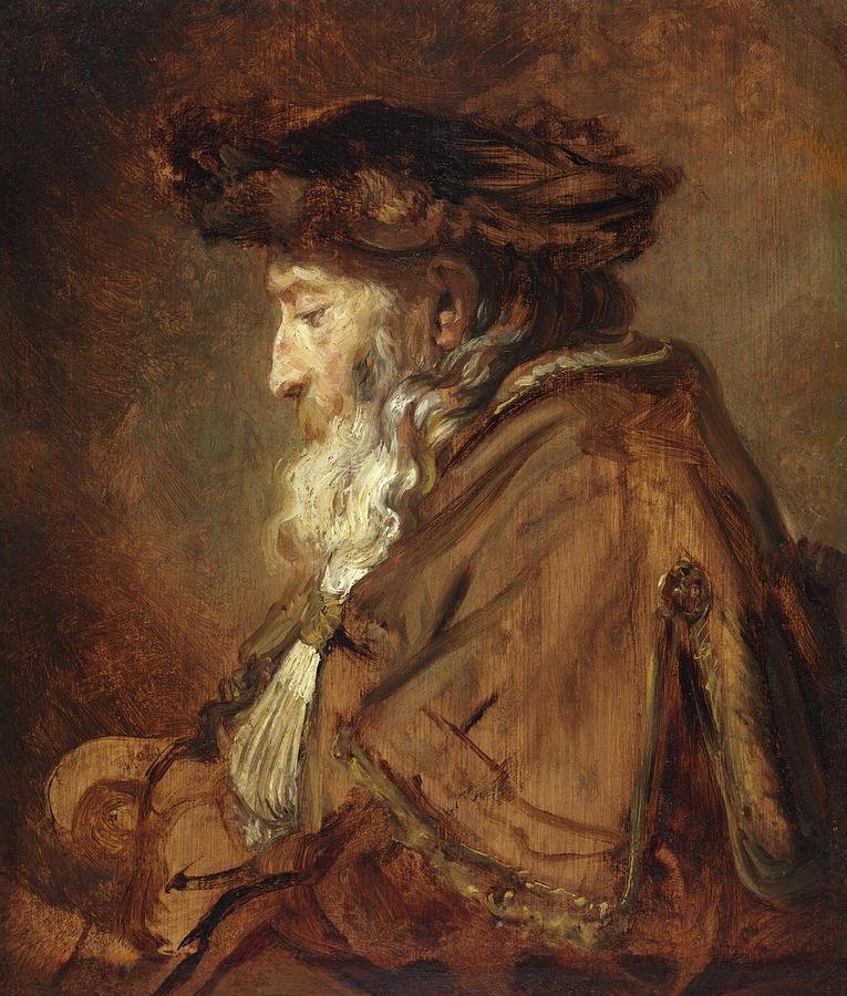 Rembrandt Van Rijn Painting - Portrait Of An Old Man, Rabbi by Rembrandt van Rijn