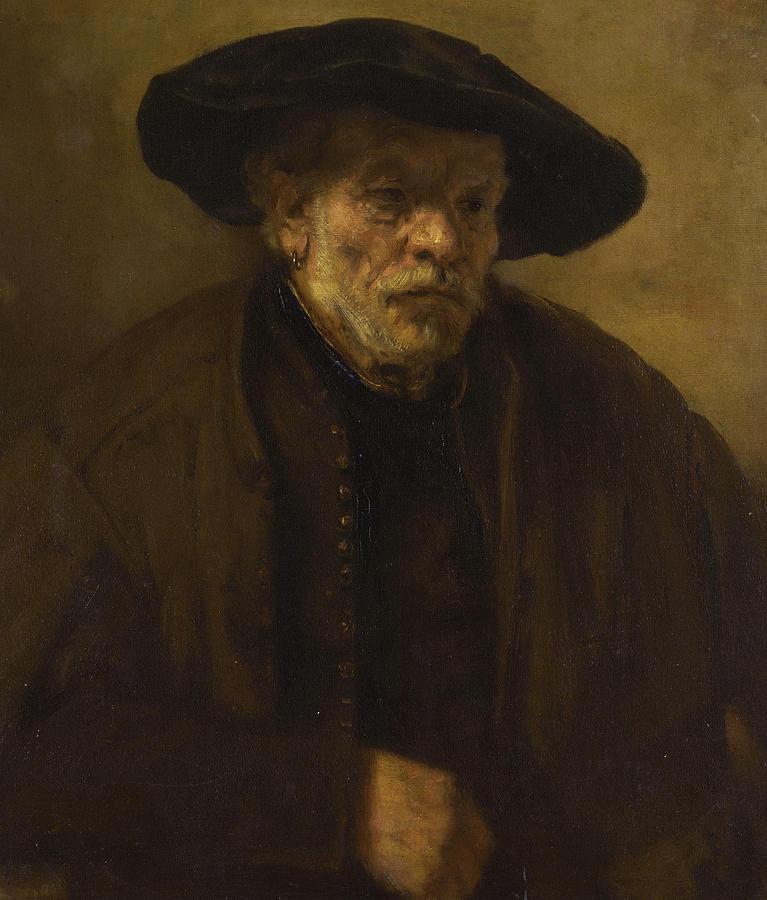 Rembrandt Van Rijn Painting - Portrait Of An Old Man by Rembrandt