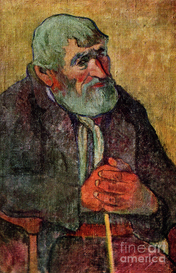 Portrait Of An Old Man With A Stick Drawing by Print Collector