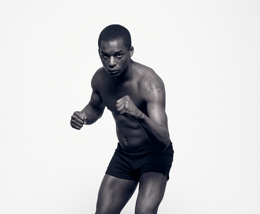 Portrait Of Boxer With Arms Held In Photograph by Michael Blann