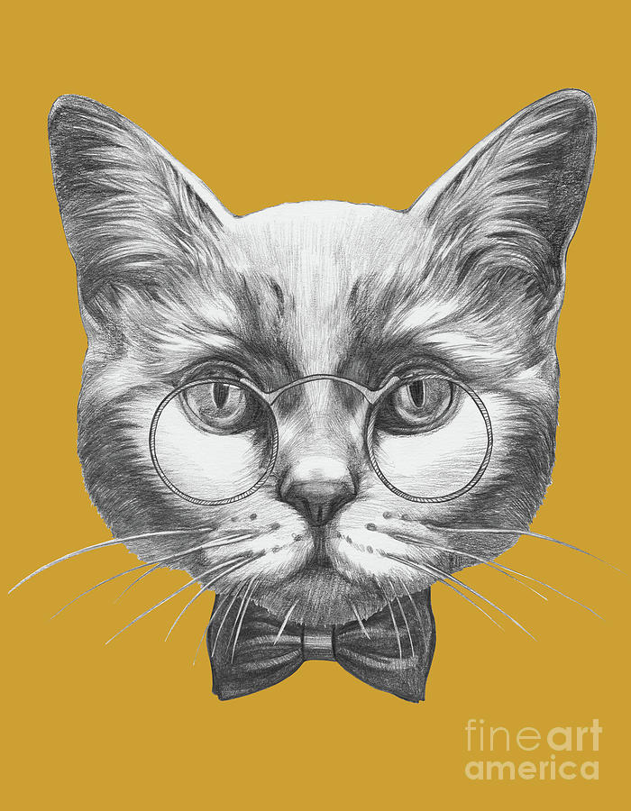 Portrait Of Cat With Glasses And Bow Digital Art by Victoria novak