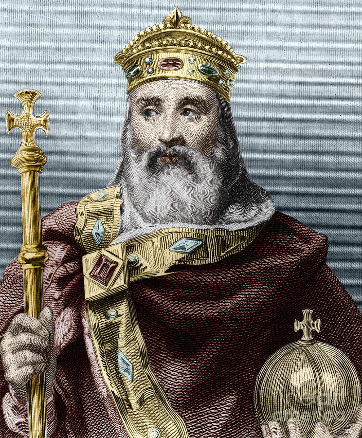 Charlemagne Drawing - Portrait Of Charlemagne, King Of France by French School