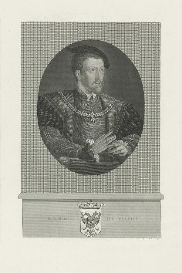 Emperor Painting - Portrait Of Charles V, Jan Frederik Christiaan Reckleben, 1847 - 1849 by Jan Frederik Christiaan Reckleben