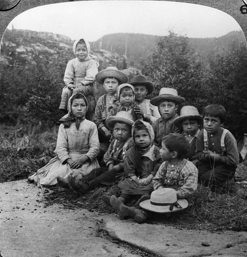Portrait Of Children From Indian Tribe Photograph by Kean Collection