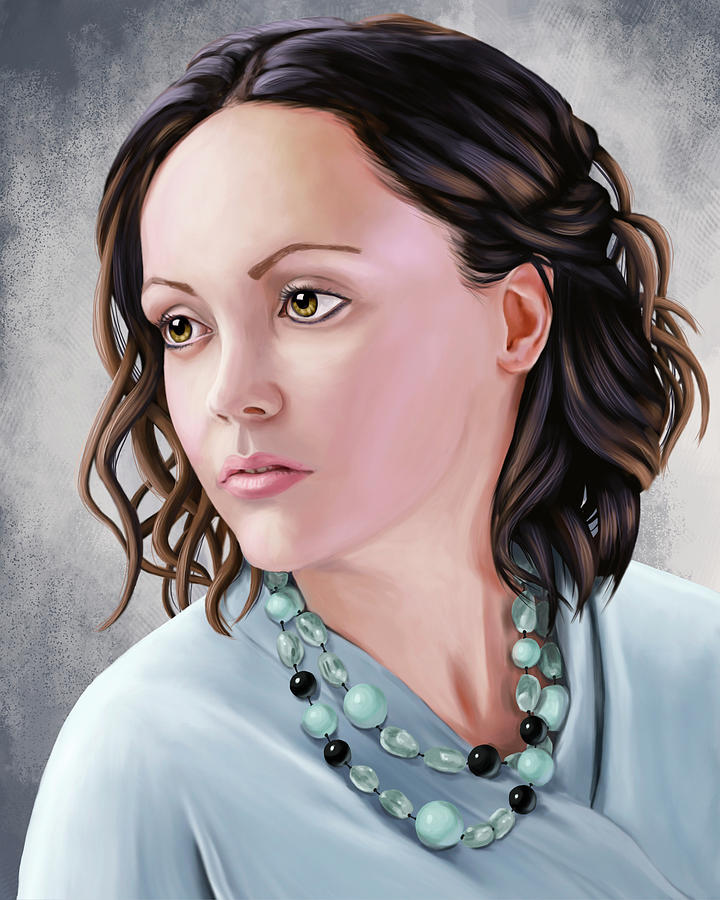 Christina Ricci Drawing - Portrait Of Christina Ricci by Sami Matilainen