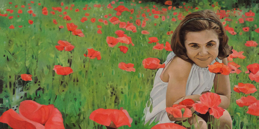 Portrait of Isabella in a Poppy Field by T S Carson