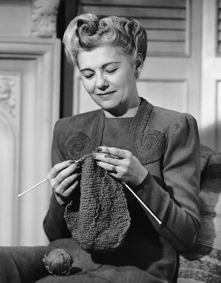 Portrait Of Mature Woman Crocheting Photograph by George Marks