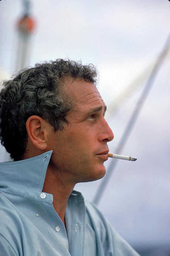 Portrait Of Paul Newman Smoking Photograph by Mark Kauffman