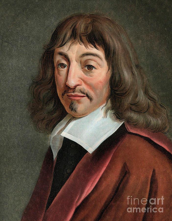 Descartes Painting - Portrait Of Rene Descartes 1596-1650 by English School