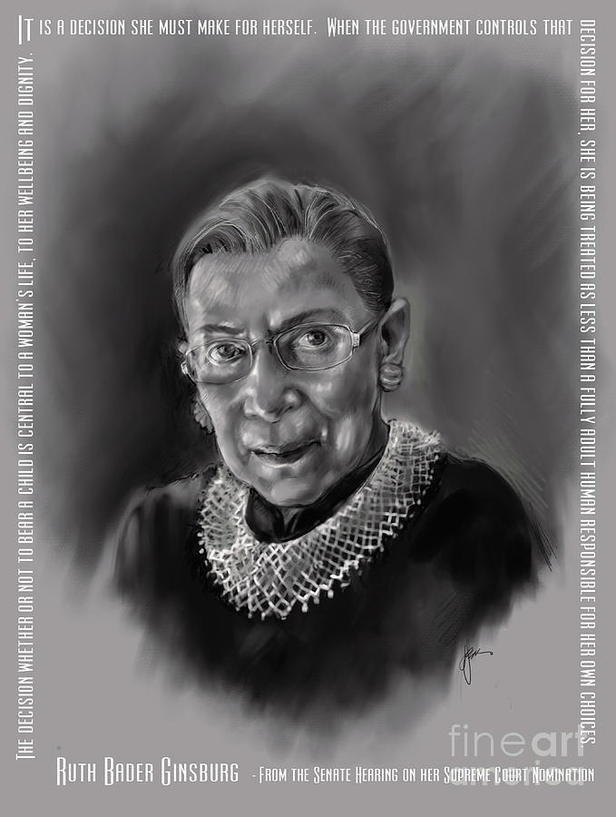 Portrait of Ruth Bader Ginsburg by Lora Serra
