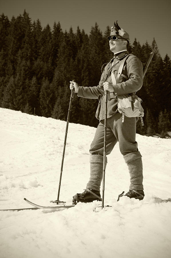 Portrait Of Soldier Skier Photograph by Technotr