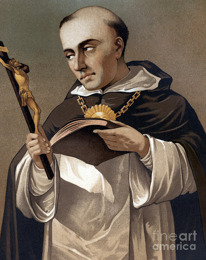 Cross Painting - Portrait Of St Thomas Aquinas 1225-1274, Italian Theologian by Italian School
