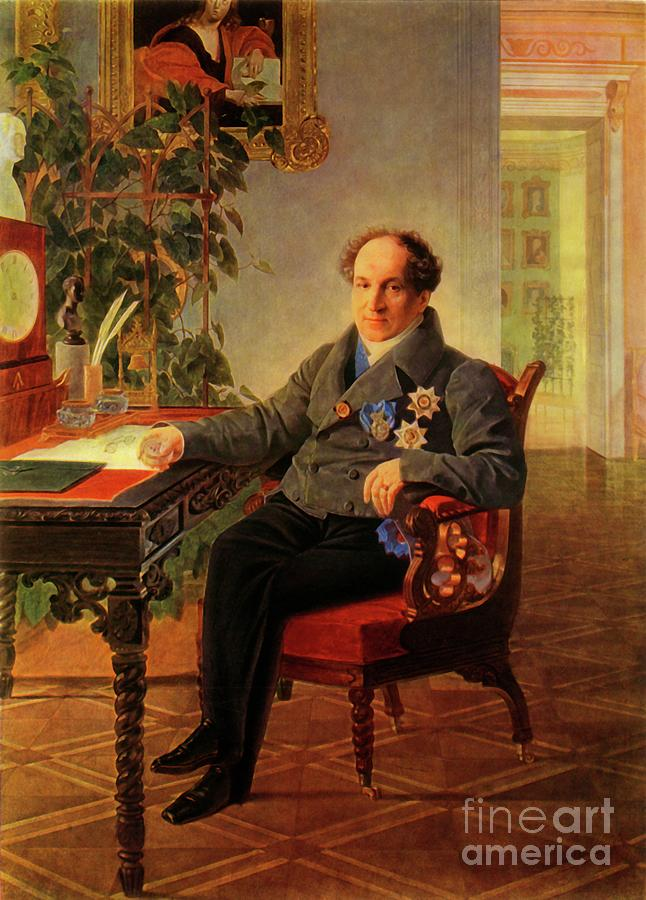 Portrait Of The Statesman Alexandr Drawing by Print Collector
