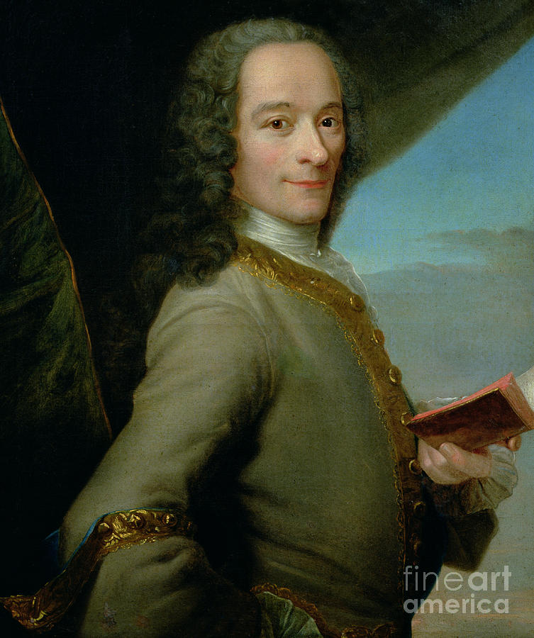 Book Painting - Portrait Of The Young Voltaire  by French School