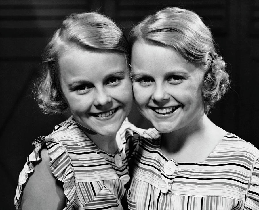 Portrait Of Twin Girls Indoor Photograph by George Marks
