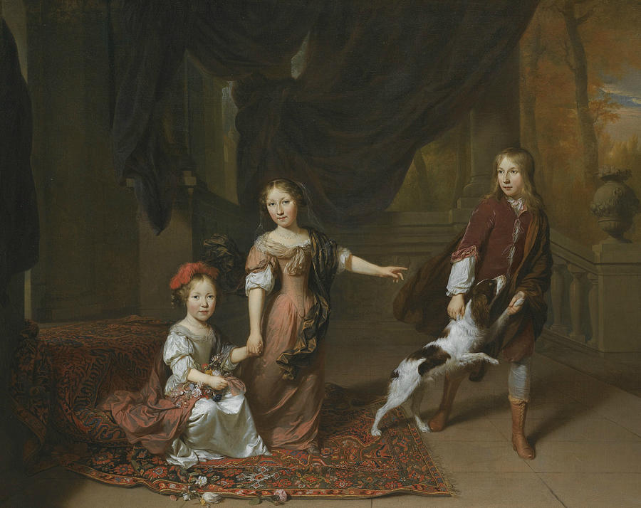 Portrait of Two Sisters and Their Brother Playing With a Dog by Jan Verkolje