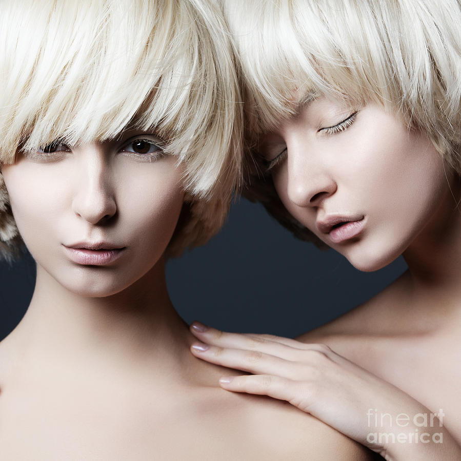 Makeup Photograph - Portrait Of Two Young Beautiful Girls by Yuliya Yafimik