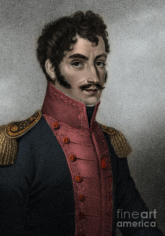 Portrait of Venezuelan politician and military Simon Bolivar  by European School
