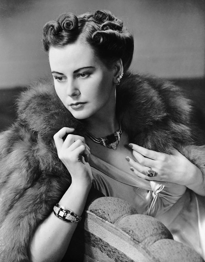 Portrait Of Woman Wearing Jewelry & Fur Photograph by George Marks