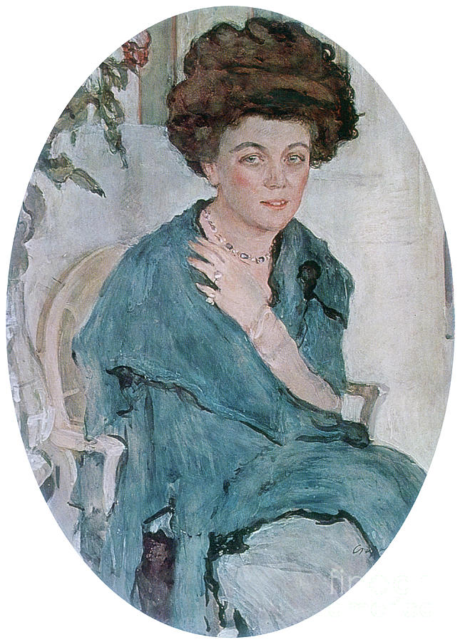 Portrait Of Yelena Oliv, 1909. Artist Drawing by Print Collector