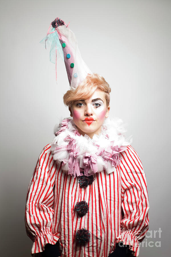 Portrait Of Young Woman Dressed As Clown Photograph by Sidneybernstein