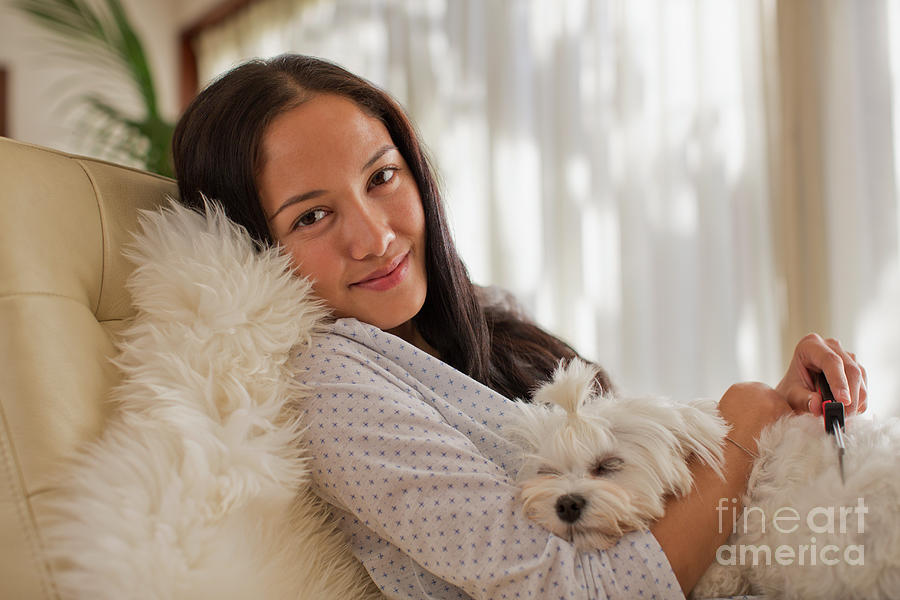 Animal Photograph - Portrait Smiling Young Woman Cuddling With Dog by Caia Image/science Photo Library