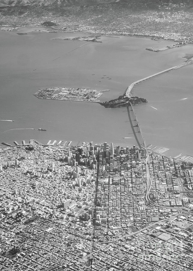 Portrait View of Downtown San Francisco from Commertial Airplane by PorqueNo Studios