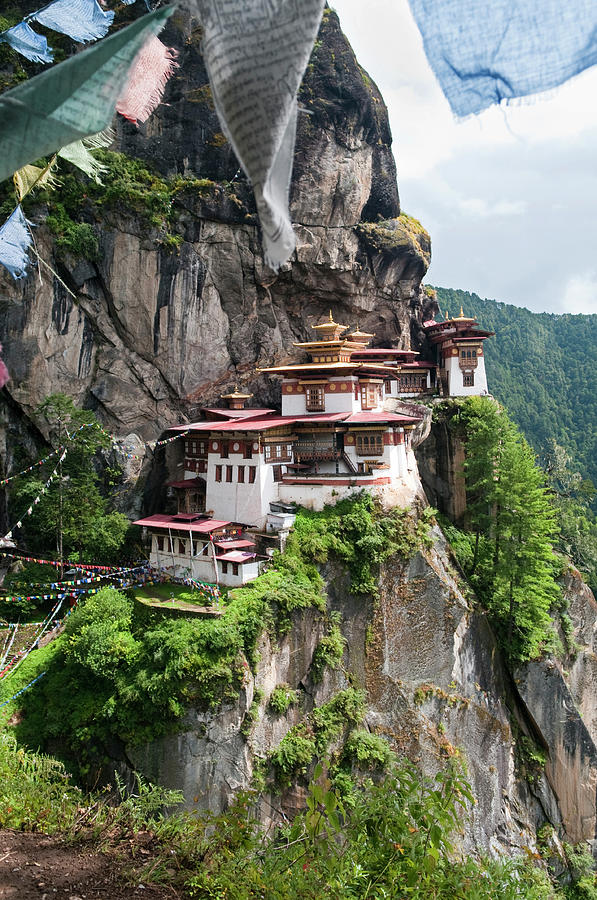 Portrait View Of Tigers Nest Monastery Photograph by Leezsnow