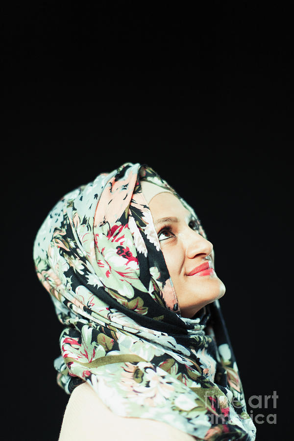 Ambition Photograph - Portrait Woman In Floral Hijab Looking Up by Caia Image/science Photo Library