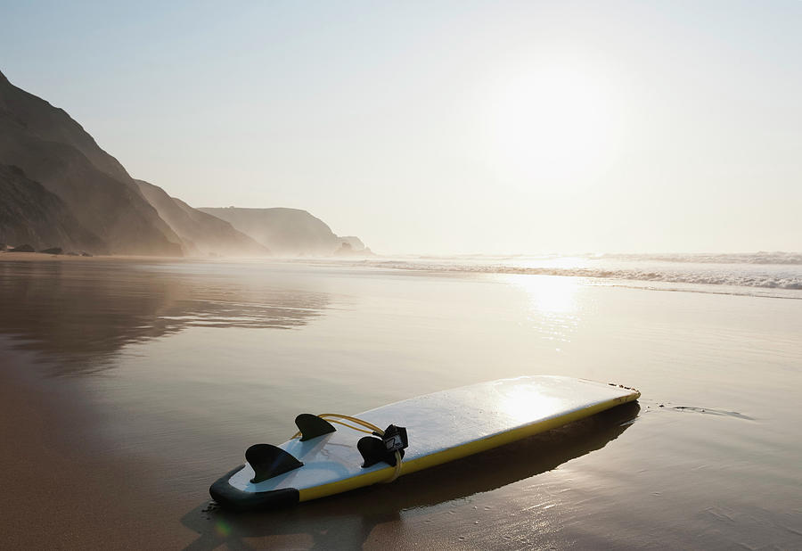 Portugal, Surfboard On Beach Photograph by Westend61