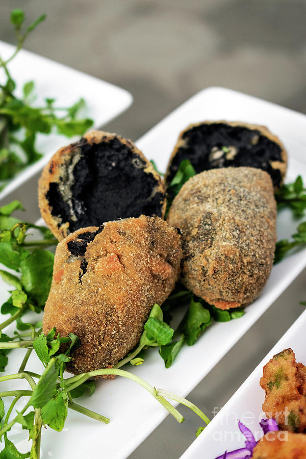 Portuguese Black Ink Cuttlefish Fried Croquettes Snack ...