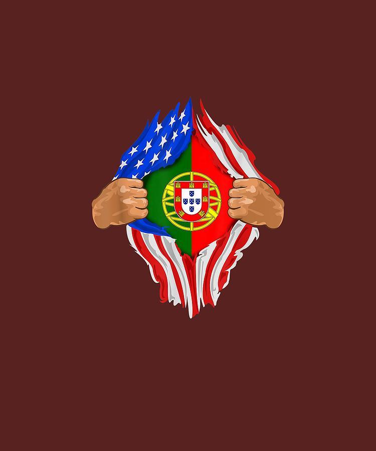 Portuguese Digital Art - Portuguese Blood Inside Me Tshirt  Portugal Flag Gift by Do David