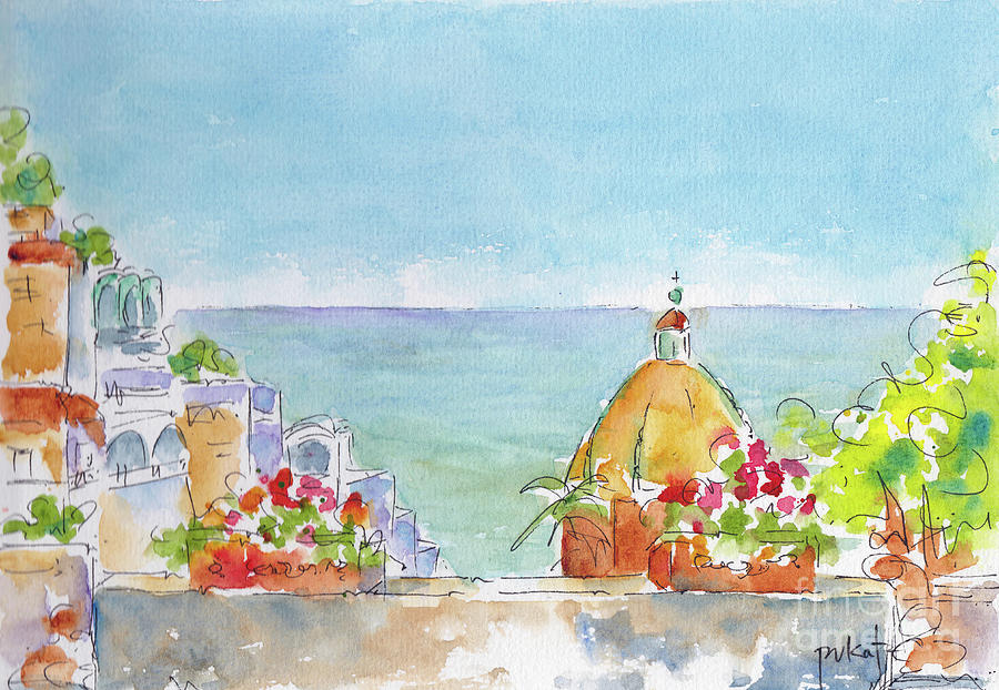 Positano Italy Looking Out To Sea by Pat Katz