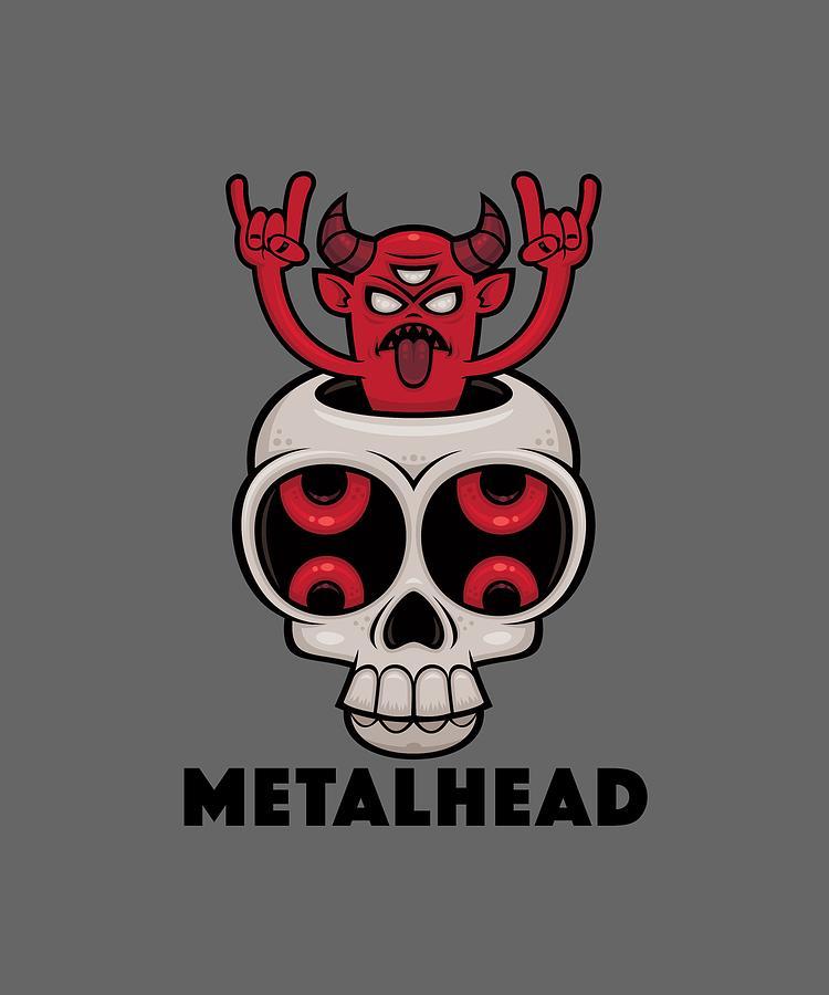 Possessed Skull Metalhead Digital Art