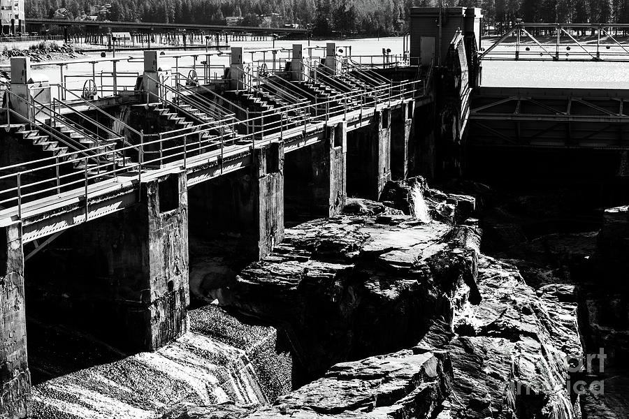 Post Falls Photograph - Post Falls Dam Black And White by Matthew Nelson