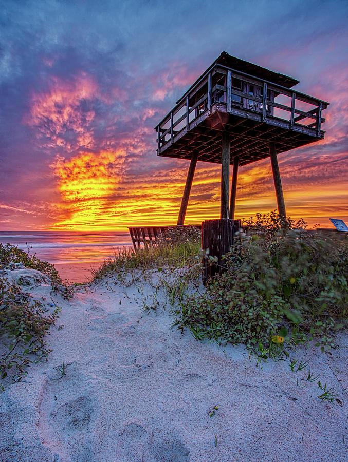 Post Hurricane Sunrise Watch Tower 2 by Dillon Kalkhurst