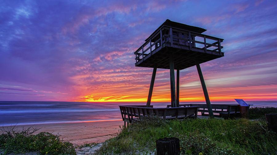 Post Hurricane Sunrise Watch Tower by Dillon Kalkhurst