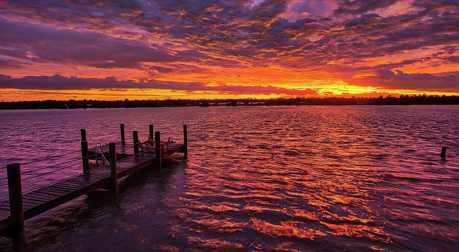 Post Hurricane Sunset Dock 2 by Dillon Kalkhurst