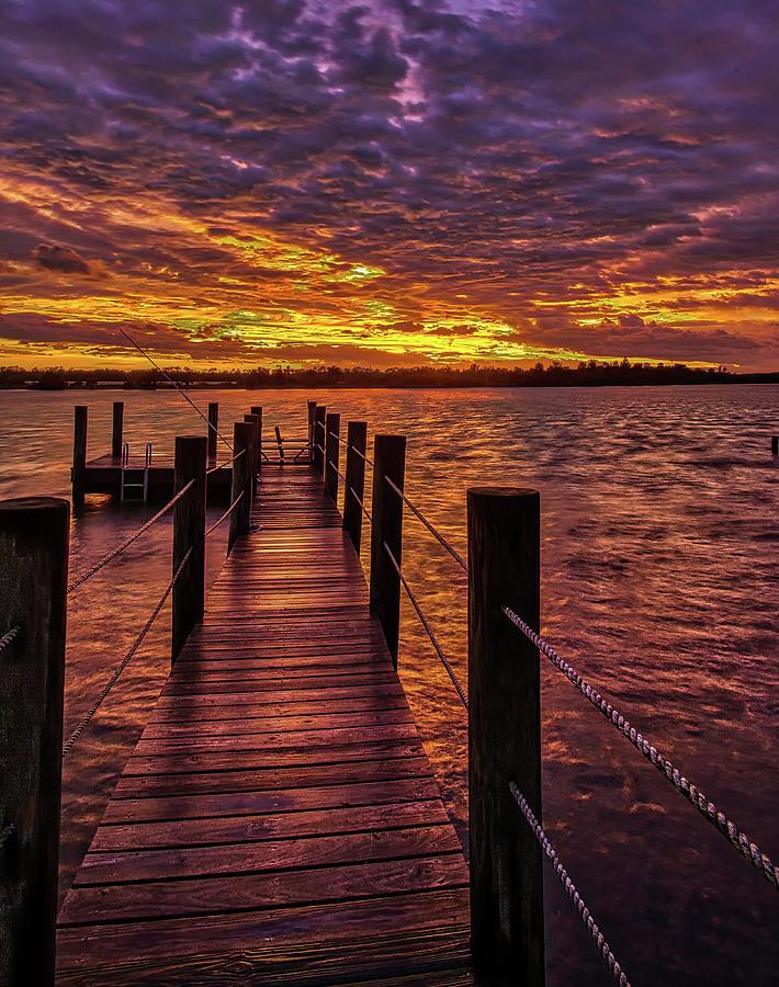 Post Hurricane Sunset Dock by Dillon Kalkhurst